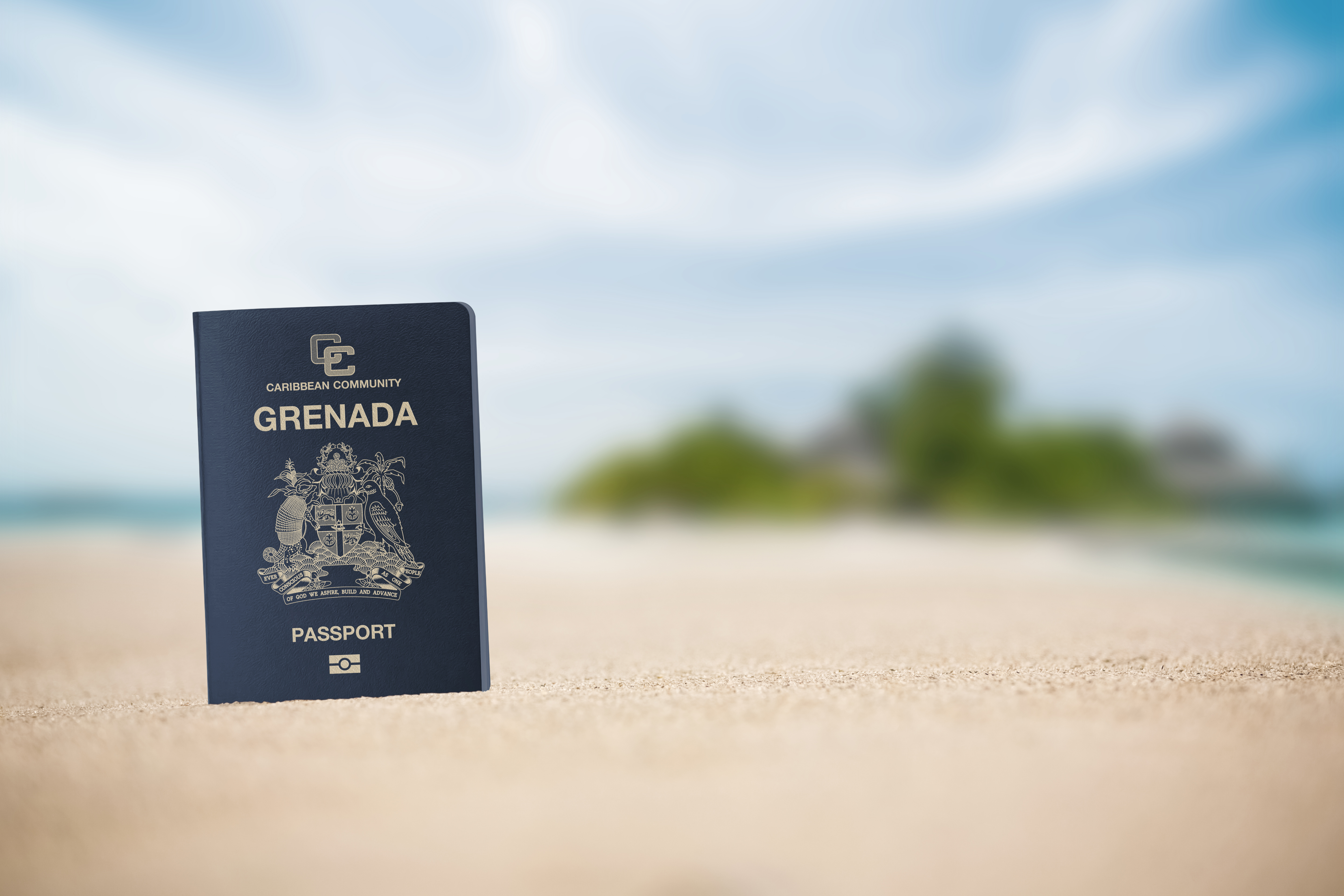 Passport on the background of the coast of Grenada symbolizes the citizenship of the Caribbean islands